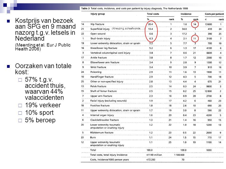 Kostprijs van bezoek aan SPG en 9 maand nazorg t.g.v. letsels in Nederland (Meerding et al. Eur J Public Health 2006) Oorzaken van totale kost:  57%