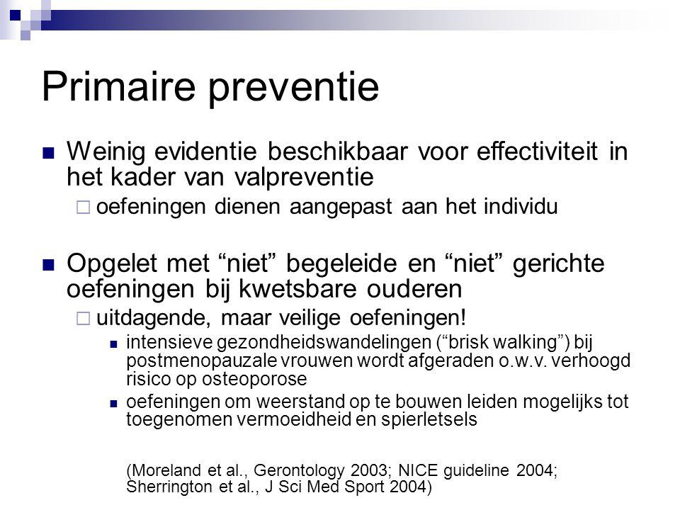 Primaire preventie Weinig evidentie beschikbaar voor effectiviteit in het kader van valpreventie  oefeningen dienen aangepast aan het individu Opgele