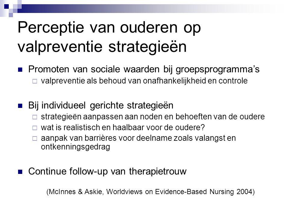 Perceptie van ouderen op valpreventie strategieën Promoten van sociale waarden bij groepsprogramma's  valpreventie als behoud van onafhankelijkheid e