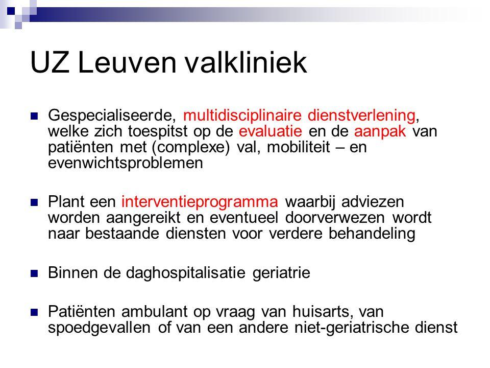 UZ Leuven valkliniek Gespecialiseerde, multidisciplinaire dienstverlening, welke zich toespitst op de evaluatie en de aanpak van patiënten met (comple