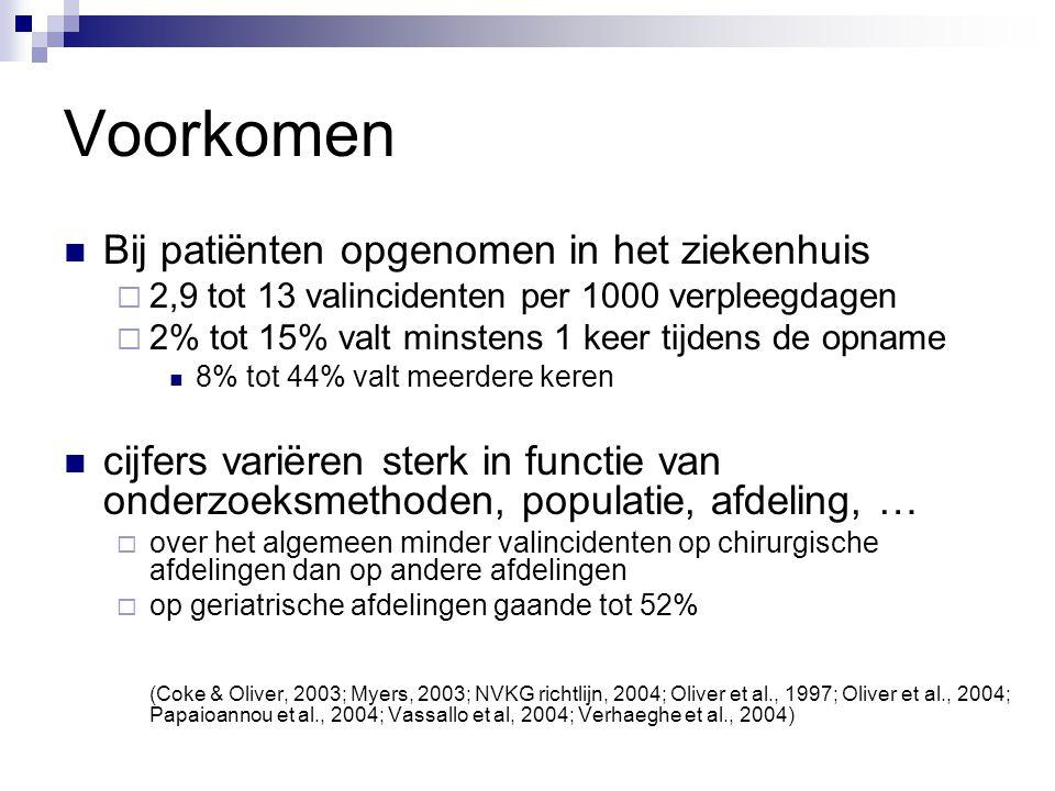 Voorkomen Multicenter studie in 6 Belgische ziekenhuizen (Verhaeghe et al., 2004)  2703 patiënten van 19 jaar of ouder  gemid.