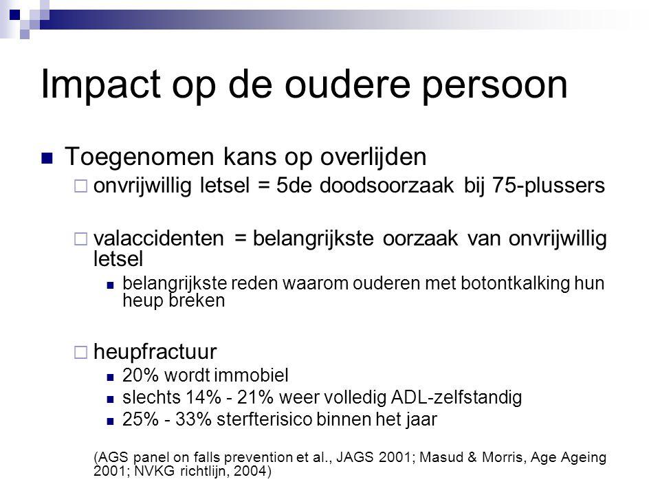 Impact op de oudere persoon Toegenomen kans op overlijden  onvrijwillig letsel = 5de doodsoorzaak bij 75-plussers  valaccidenten = belangrijkste oor
