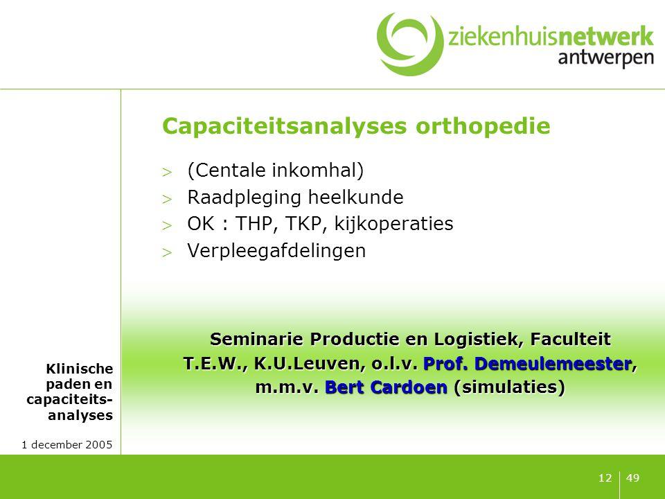 Klinische paden en capaciteits- analyses 1 december 2005 4912 Capaciteitsanalyses orthopedie (Centale inkomhal) Raadpleging heelkunde OK : THP, TKP