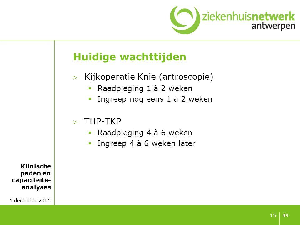 Klinische paden en capaciteits- analyses 1 december 2005 4915 Huidige wachttijden Kijkoperatie Knie (artroscopie)  Raadpleging 1 à 2 weken  Ingreep