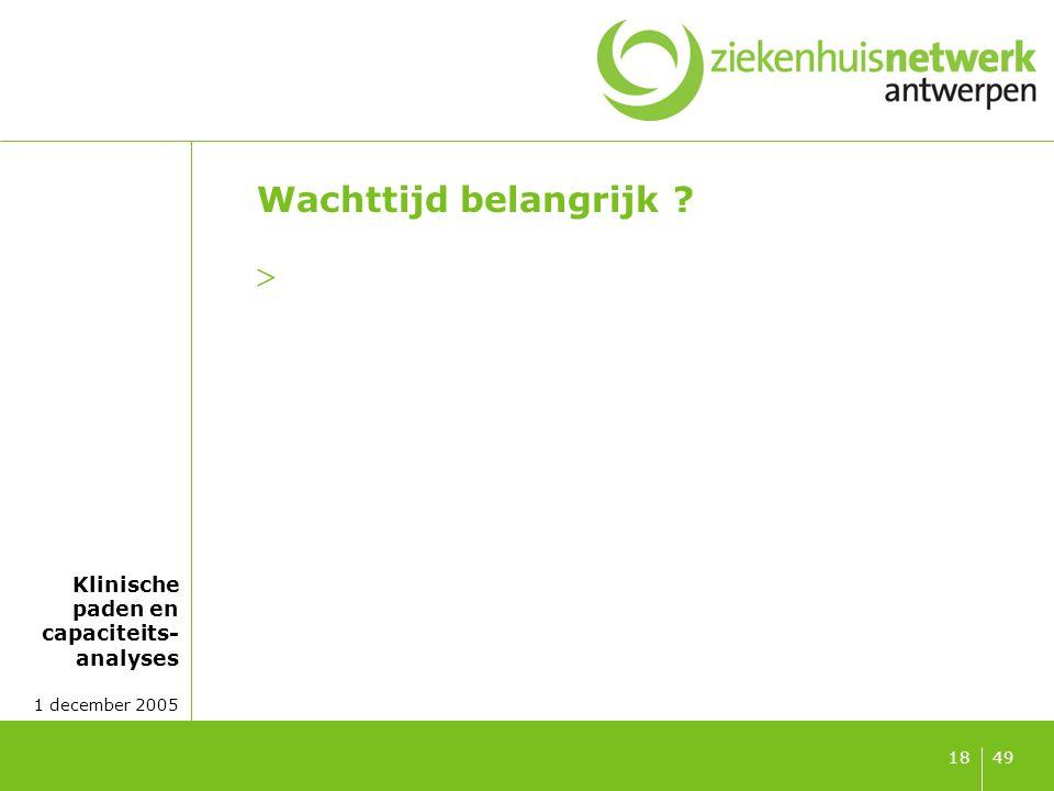 Klinische paden en capaciteits- analyses 1 december 2005 4918 Wachttijd belangrijk ? 
