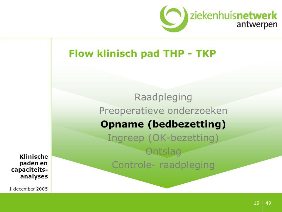 Klinische paden en capaciteits- analyses 1 december 2005 4919 Flow klinisch pad THP - TKP Raadpleging Preoperatieve onderzoeken Opname (bedbezetting)