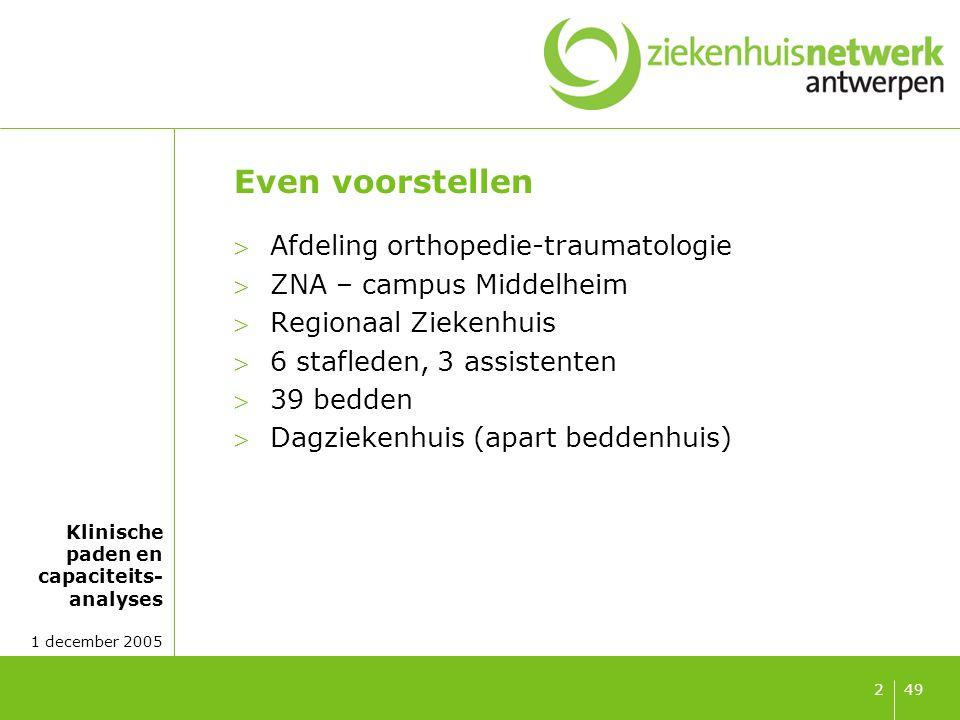 Klinische paden en capaciteits- analyses 1 december 2005 492 Even voorstellen Afdeling orthopedie-traumatologie ZNA – campus Middelheim Regionaal Z
