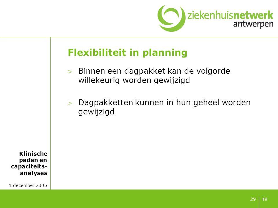 Klinische paden en capaciteits- analyses 1 december 2005 4929 Flexibiliteit in planning Binnen een dagpakket kan de volgorde willekeurig worden gewij