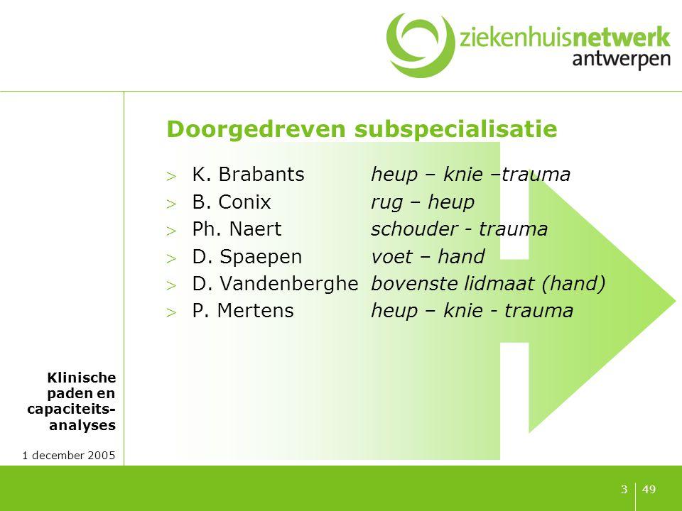 Klinische paden en capaciteits- analyses 1 december 2005 493 Doorgedreven subspecialisatie K. Brabantsheup – knie –trauma B. Conixrug – heup Ph. Na