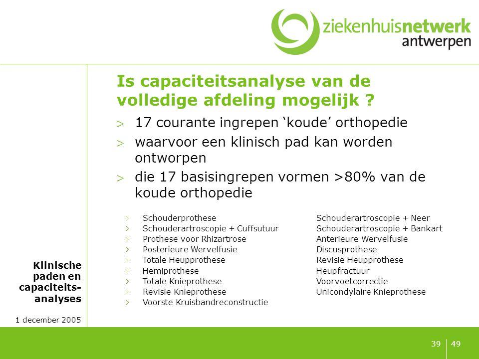 Klinische paden en capaciteits- analyses 1 december 2005 4939 Is capaciteitsanalyse van de volledige afdeling mogelijk ? 17 courante ingrepen 'koude'