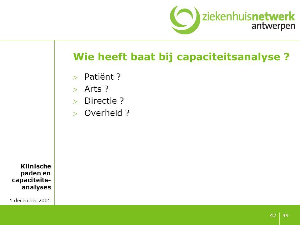 Klinische paden en capaciteits- analyses 1 december 2005 4942 Wie heeft baat bij capaciteitsanalyse ? Patiënt ? Arts ? Directie ? Overheid ?