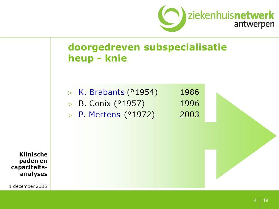 Klinische paden en capaciteits- analyses 1 december 2005 494 doorgedreven subspecialisatie heup - knie K. Brabants (°1954)1986 B. Conix (°1957) 1996