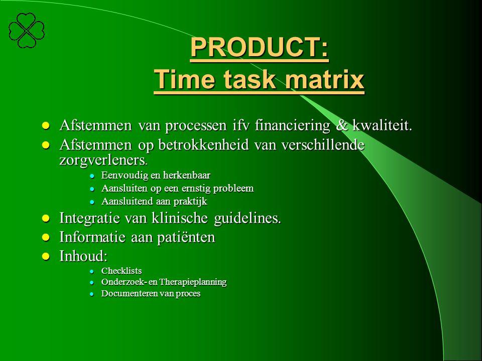 PRODUCT: Time task matrix l Afstemmen van processen ifv financiering & kwaliteit. l Afstemmen op betrokkenheid van verschillende zorgverleners. l Eenv