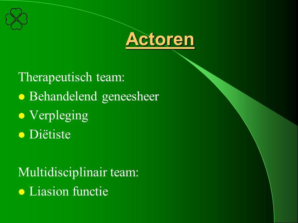 Actoren Therapeutisch team: l Behandelend geneesheer l Verpleging l Diëtiste Multidisciplinair team: l Liasion functie
