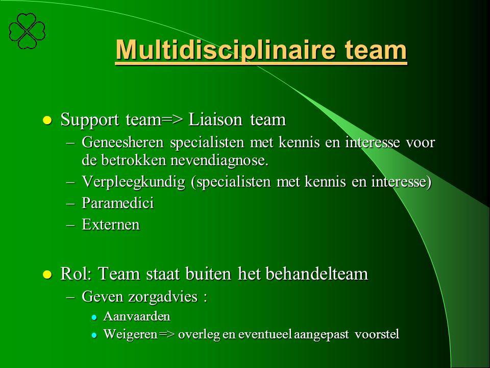 Multidisciplinaire team l Support team=> Liaison team –Geneesheren specialisten met kennis en interesse voor de betrokken nevendiagnose. –Verpleegkund