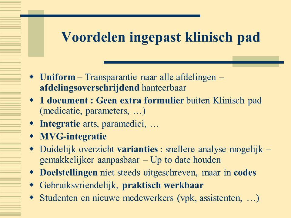 Voordelen ingepast klinisch pad  Uniform – Transparantie naar alle afdelingen – afdelingsoverschrijdend hanteerbaar  1 document : Geen extra formuli