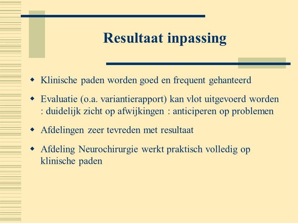 Resultaat inpassing  Klinische paden worden goed en frequent gehanteerd  Evaluatie (o.a. variantierapport) kan vlot uitgevoerd worden : duidelijk zi