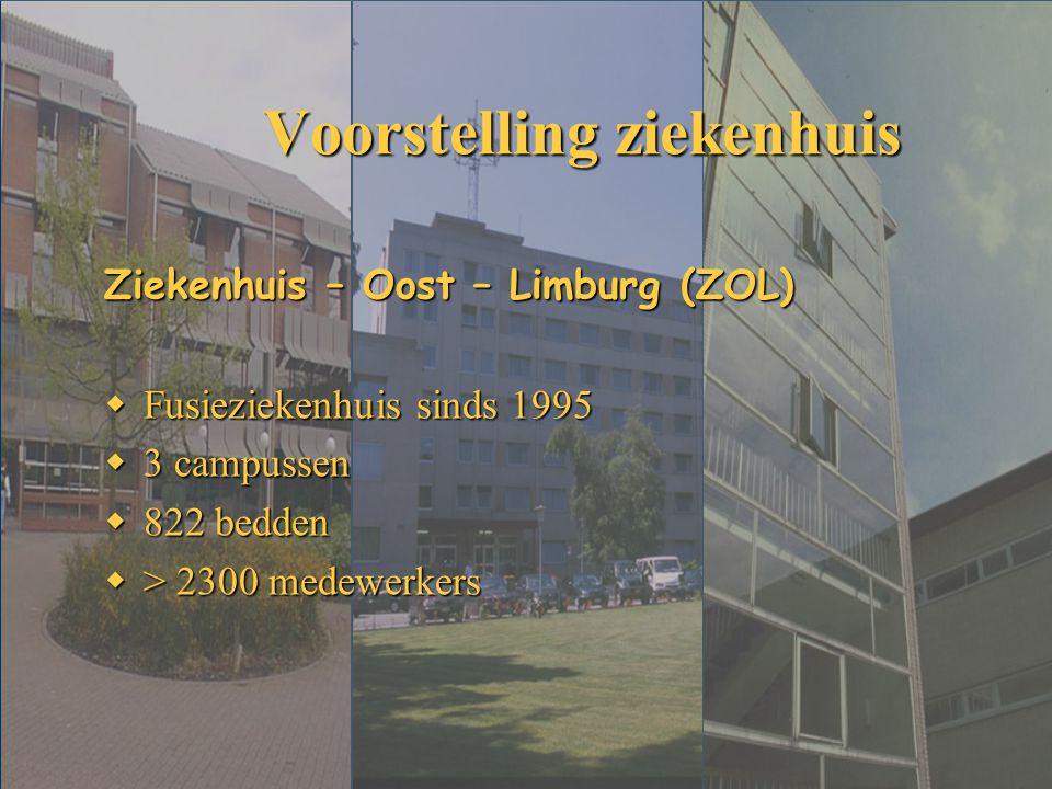 Voorstelling ziekenhuis Ziekenhuis – Oost – Limburg (ZOL)  Fusieziekenhuis sinds 1995  3 campussen  822 bedden  > 2300 medewerkers