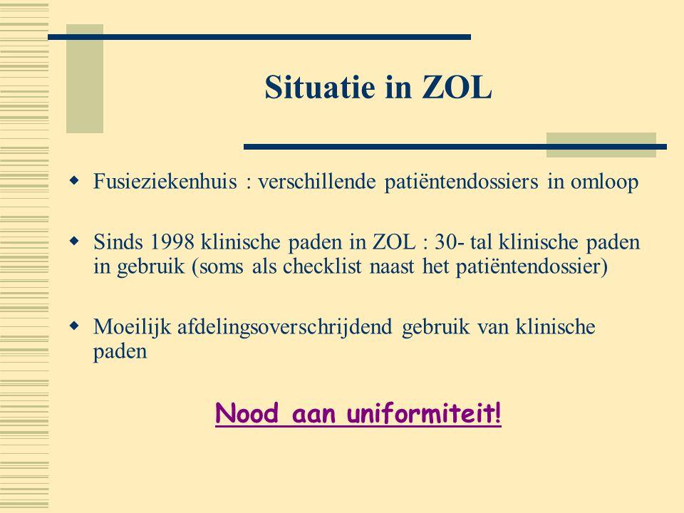 Situatie in ZOL  Fusieziekenhuis : verschillende patiëntendossiers in omloop  Sinds 1998 klinische paden in ZOL : 30- tal klinische paden in gebruik