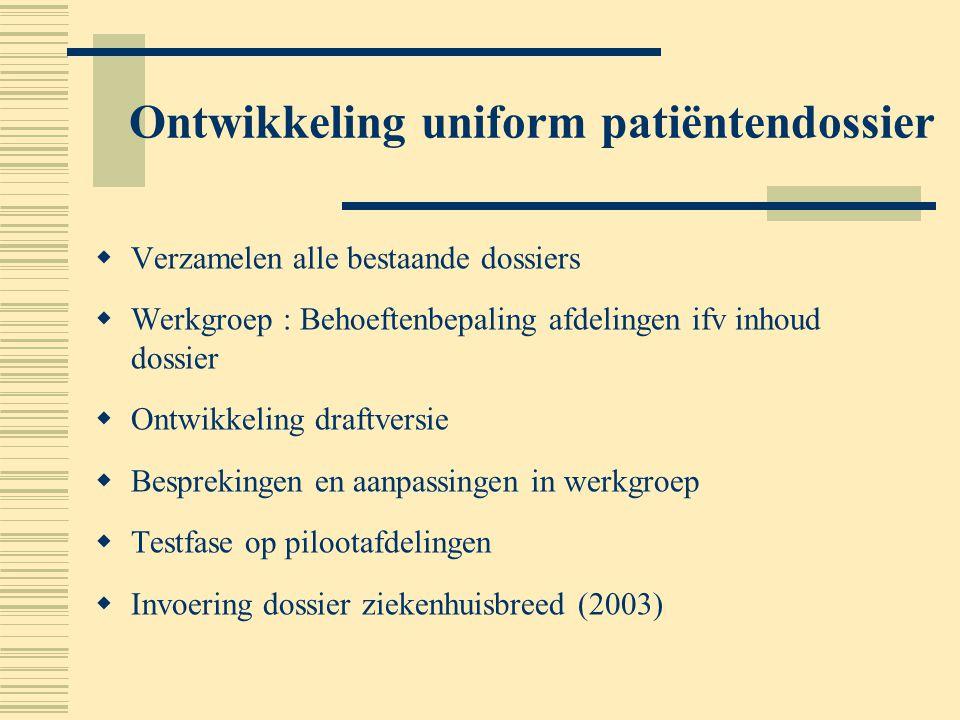 Ontwikkeling uniform patiëntendossier  Verzamelen alle bestaande dossiers  Werkgroep : Behoeftenbepaling afdelingen ifv inhoud dossier  Ontwikkelin