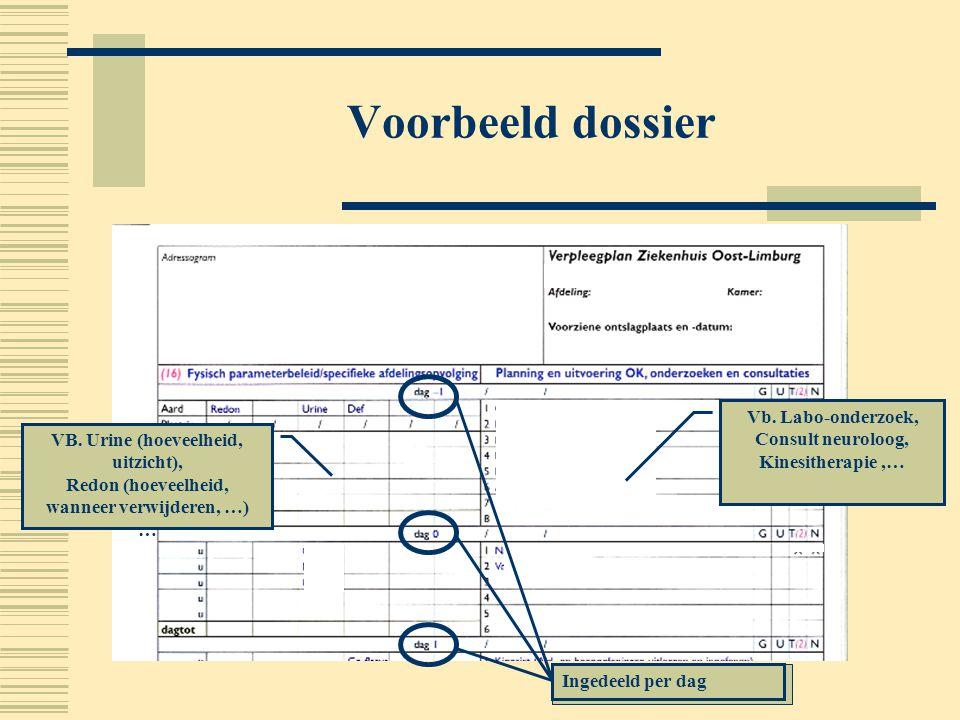 Voorbeeld dossier Vb. Labo-onderzoek, Consult neuroloog, Kinesitherapie,… VB. Urine (hoeveelheid, uitzicht), Redon (hoeveelheid, wanneer verwijderen,