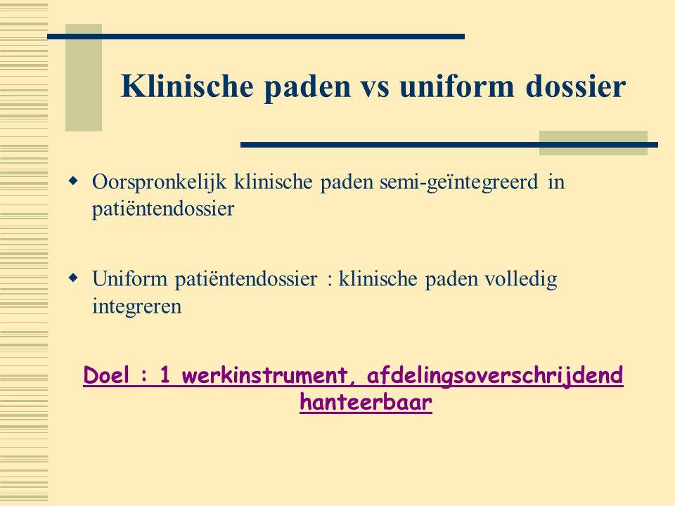 Klinische paden vs uniform dossier  Oorspronkelijk klinische paden semi-geïntegreerd in patiëntendossier  Uniform patiëntendossier : klinische paden
