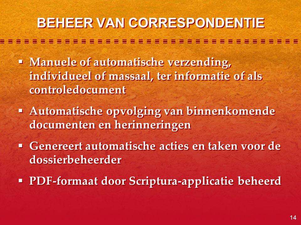 14 BEHEER VAN CORRESPONDENTIE  Manuele of automatische verzending, individueel of massaal, ter informatie of als controledocument  Automatische opvo