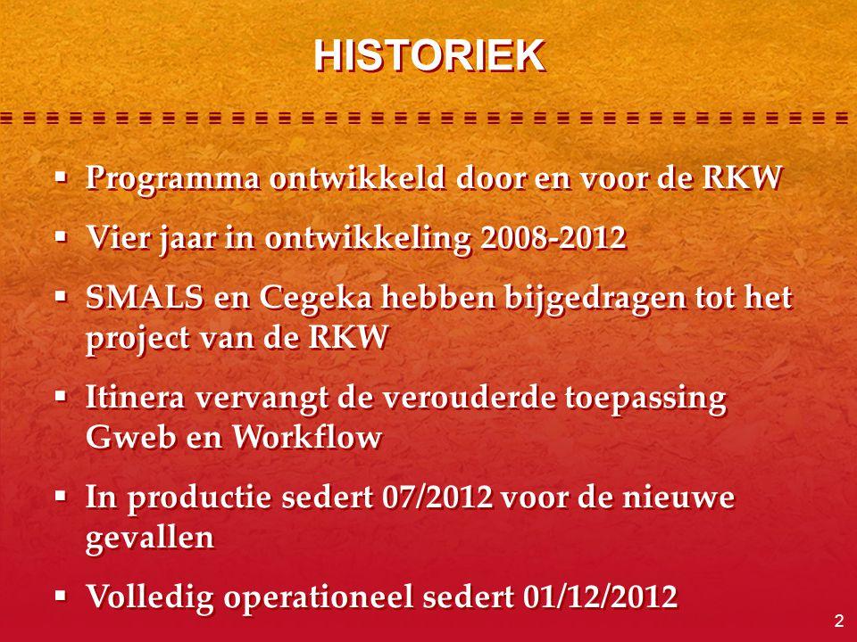 2  Programma ontwikkeld door en voor de RKW  Vier jaar in ontwikkeling 2008-2012  SMALS en Cegeka hebben bijgedragen tot het project van de RKW  I