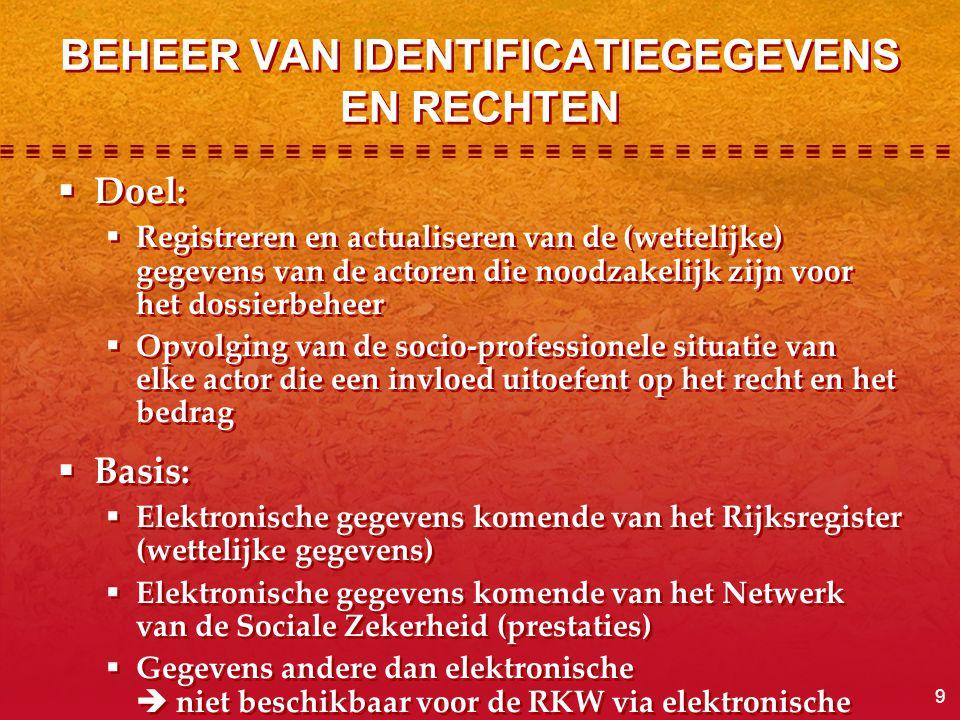 9 BEHEER VAN IDENTIFICATIEGEGEVENS EN RECHTEN  Doel:  Registreren en actualiseren van de (wettelijke) gegevens van de actoren die noodzakelijk zijn