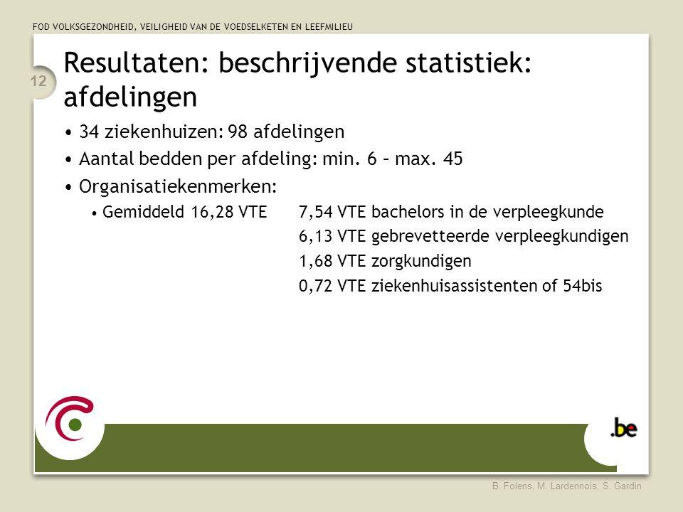 FOD VOLKSGEZONDHEID, VEILIGHEID VAN DE VOEDSELKETEN EN LEEFMILIEU B. Folens, M. Lardennois, S. Gardin 12 Resultaten: beschrijvende statistiek: afdelin