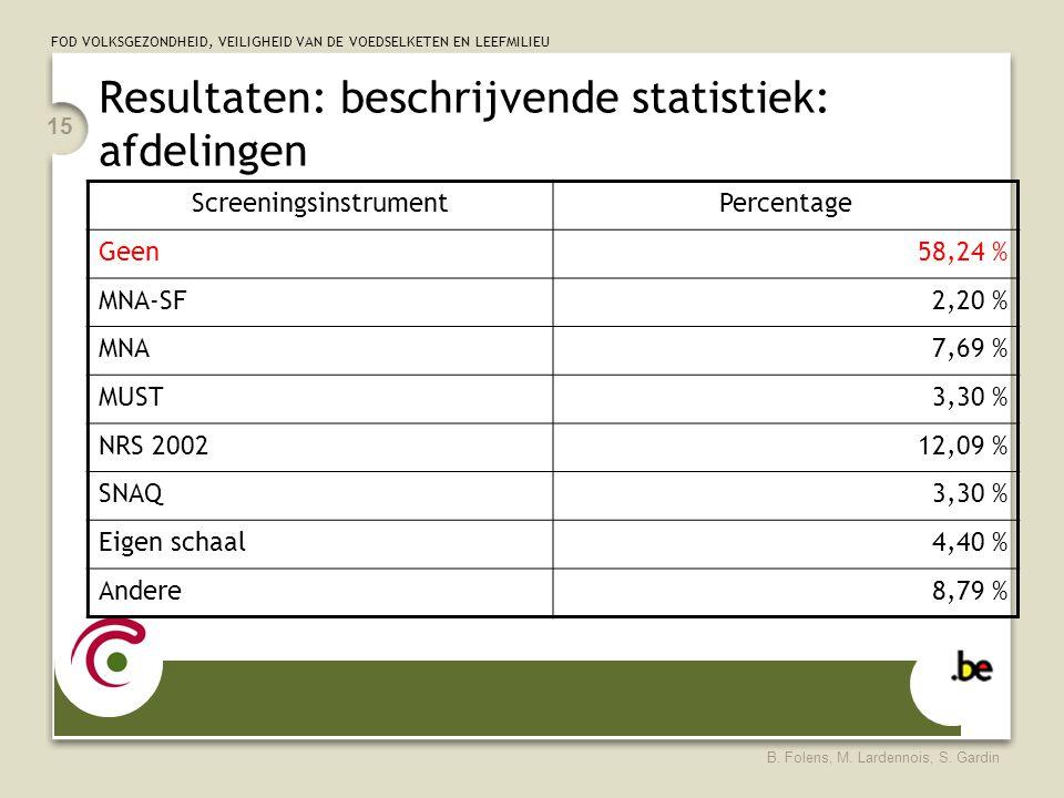 FOD VOLKSGEZONDHEID, VEILIGHEID VAN DE VOEDSELKETEN EN LEEFMILIEU B. Folens, M. Lardennois, S. Gardin 15 Resultaten: beschrijvende statistiek: afdelin