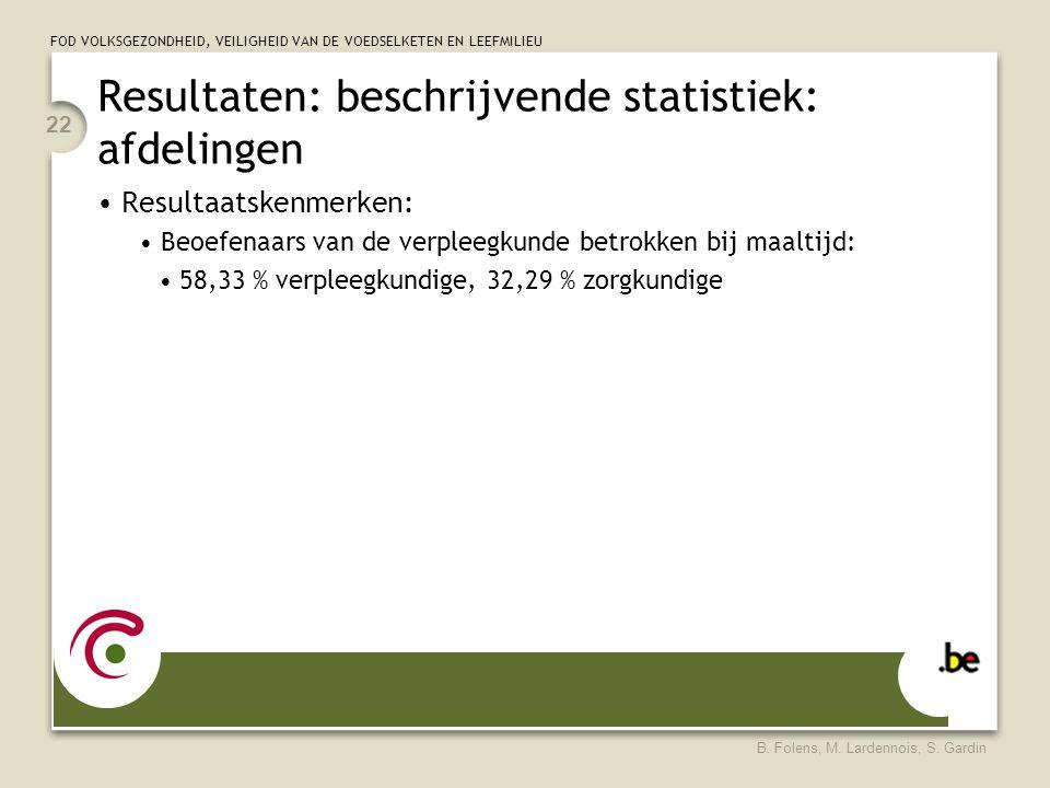 FOD VOLKSGEZONDHEID, VEILIGHEID VAN DE VOEDSELKETEN EN LEEFMILIEU B. Folens, M. Lardennois, S. Gardin 22 Resultaten: beschrijvende statistiek: afdelin