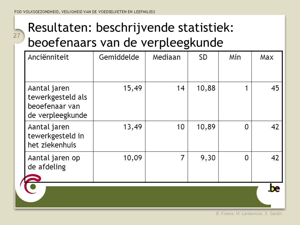 FOD VOLKSGEZONDHEID, VEILIGHEID VAN DE VOEDSELKETEN EN LEEFMILIEU B. Folens, M. Lardennois, S. Gardin 27 Resultaten: beschrijvende statistiek: beoefen