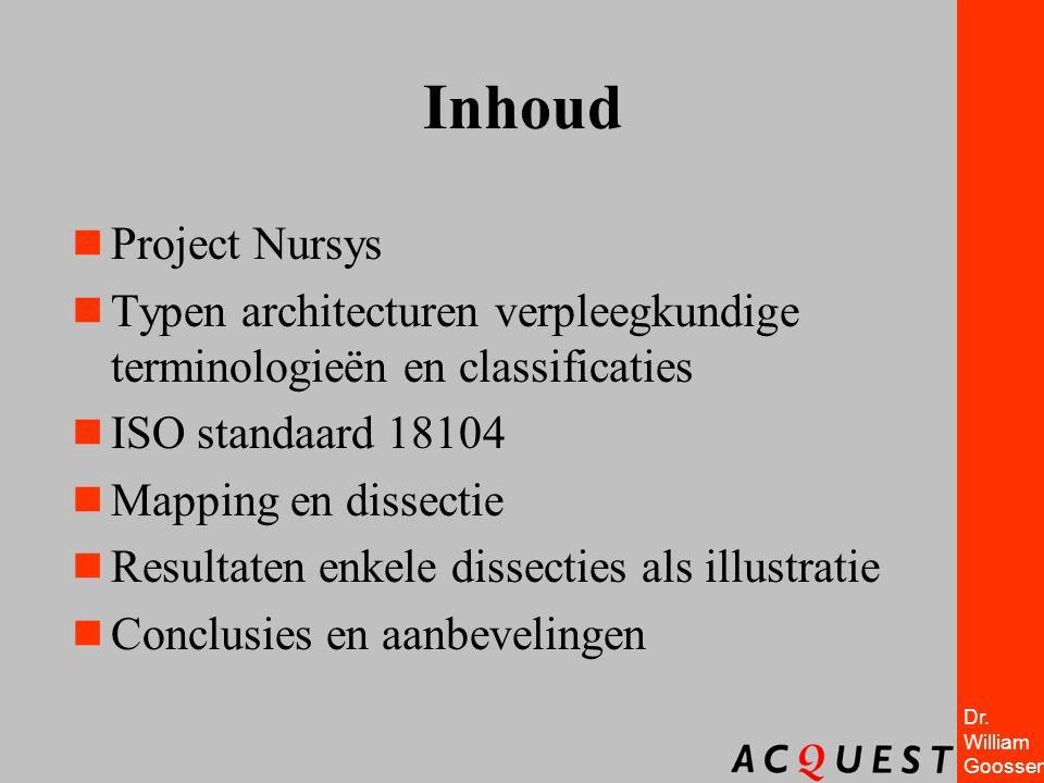 Dr. William Goossen Inhoud  Project Nursys  Typen architecturen verpleegkundige terminologieën en classificaties  ISO standaard 18104  Mapping en