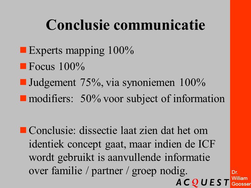 Dr. William Goossen Conclusie communicatie  Experts mapping 100%  Focus 100%  Judgement 75%, via synoniemen 100%  modifiers: 50% voor subject of i