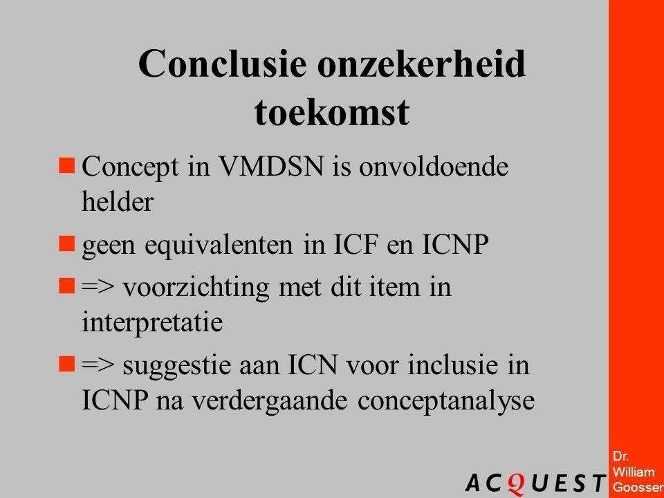 Dr. William Goossen Conclusie onzekerheid toekomst  Concept in VMDSN is onvoldoende helder  geen equivalenten in ICF en ICNP  => voorzichting met d