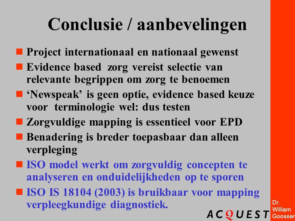 Dr. William Goossen Conclusie / aanbevelingen  Project internationaal en nationaal gewenst  Evidence based zorg vereist selectie van relevante begri