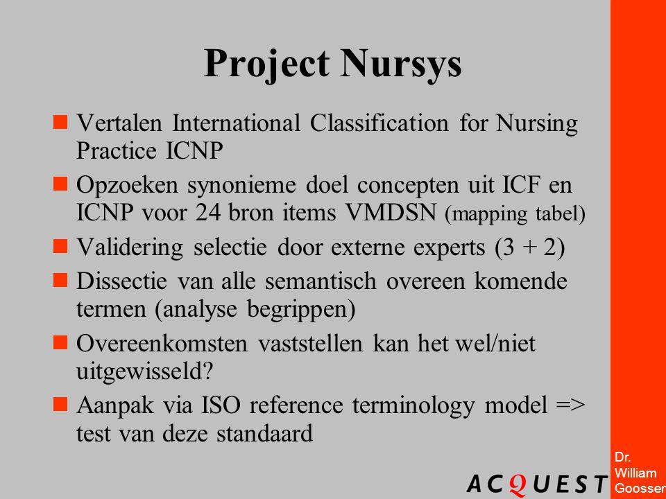 Dr. William Goossen Project Nursys  Vertalen International Classification for Nursing Practice ICNP  Opzoeken synonieme doel concepten uit ICF en IC