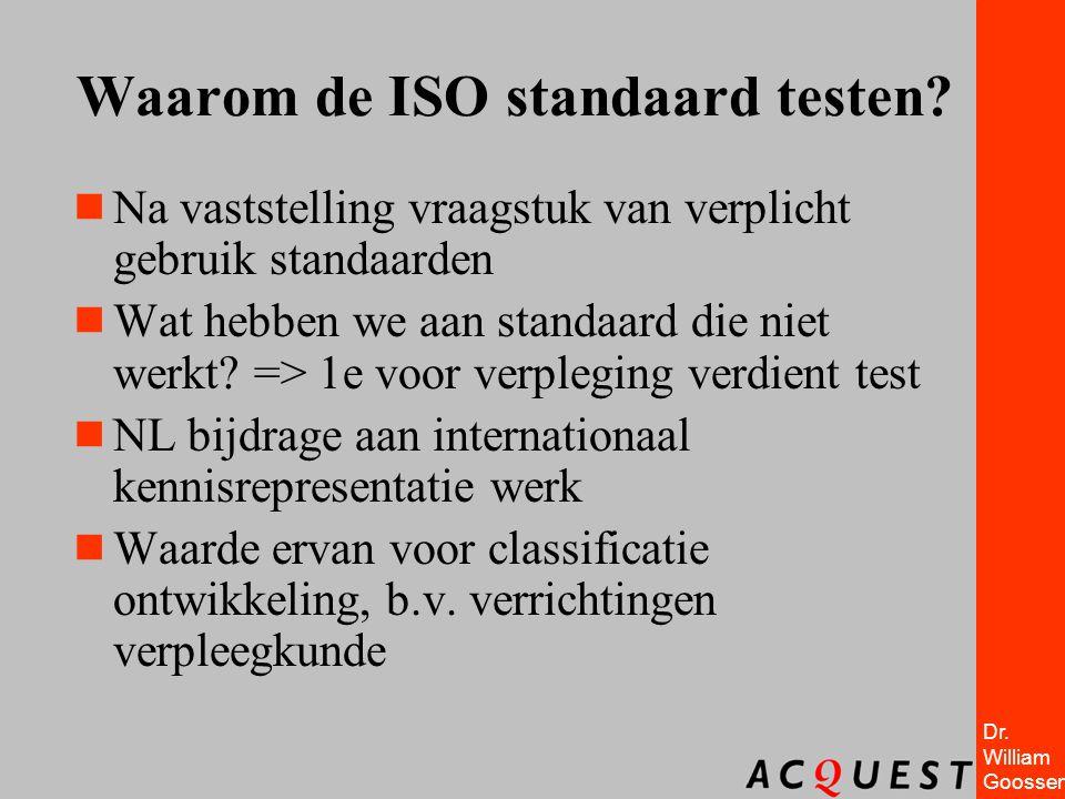 Dr. William Goossen Waarom de ISO standaard testen?  Na vaststelling vraagstuk van verplicht gebruik standaarden  Wat hebben we aan standaard die ni