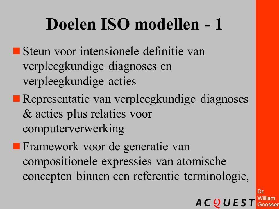 Dr. William Goossen Doelen ISO modellen - 1  Steun voor intensionele definitie van verpleegkundige diagnoses en verpleegkundige acties  Representati