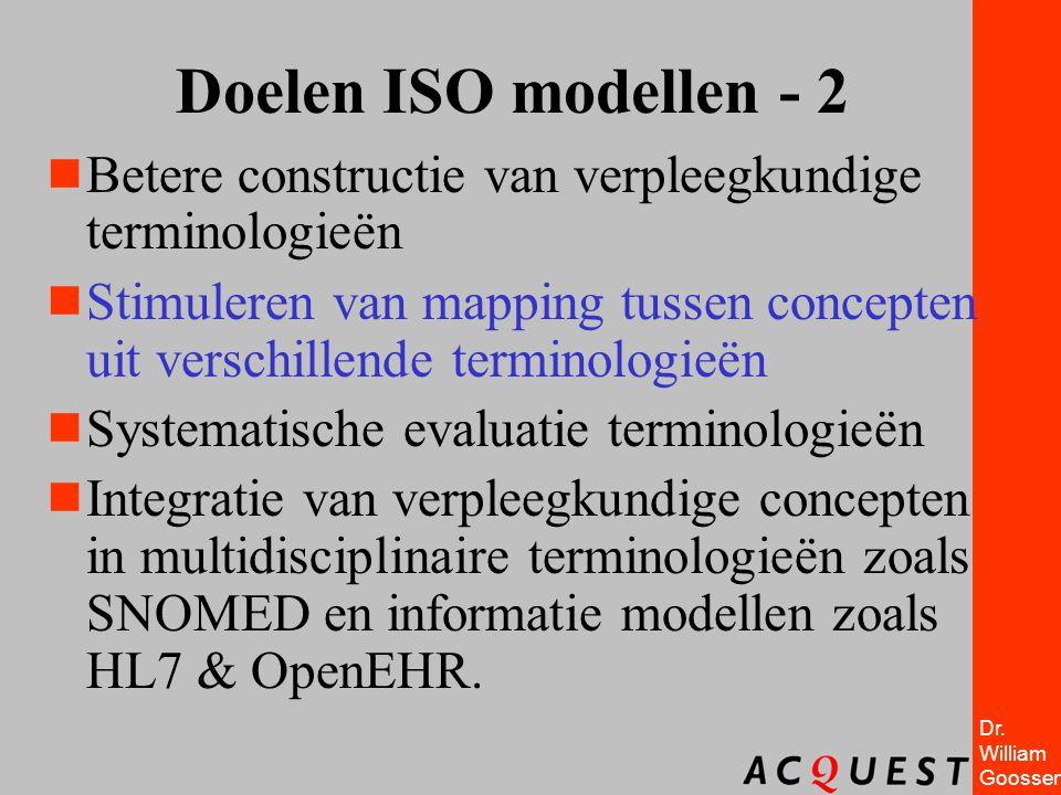 Dr. William Goossen Doelen ISO modellen - 2  Betere constructie van verpleegkundige terminologieën  Stimuleren van mapping tussen concepten uit vers