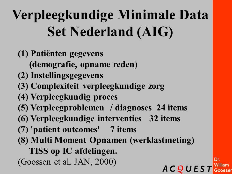 Dr. William Goossen Verpleegkundige Minimale Data Set Nederland (AIG) (1) Patiënten gegevens (demografie, opname reden) (2) Instellingsgegevens (3) Co