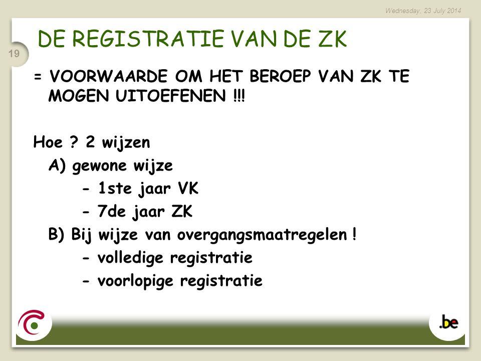 Wednesday, 23 July 2014 19 DE REGISTRATIE VAN DE ZK = VOORWAARDE OM HET BEROEP VAN ZK TE MOGEN UITOEFENEN !!.