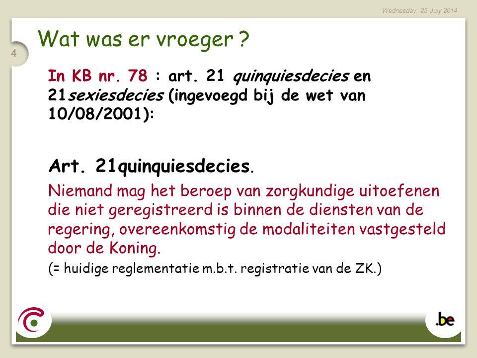 Wednesday, 23 July 2014 25 Praktisch voor de ZK: De gegevens worden door de verzorgingsinstelling aan de FOD VG tegen 20/01/07 overgemaakt Deze ZK kunnen de bevestiging van hun registratie in de loop van 2007 verwachten.