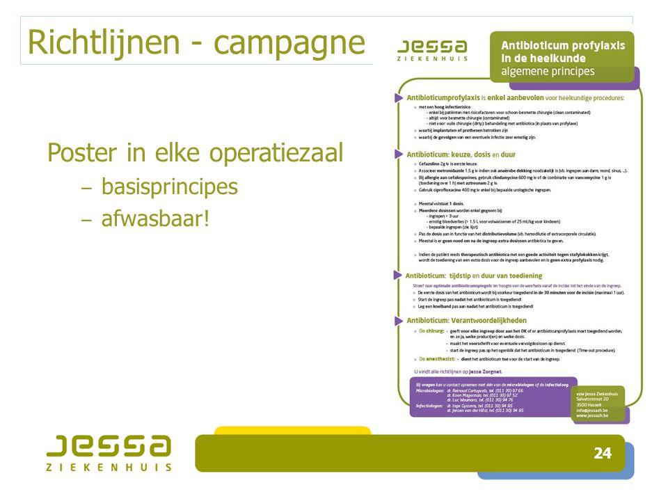 Richtlijnen - campagne 24 Poster in elke operatiezaal ‒ basisprincipes ‒ afwasbaar!