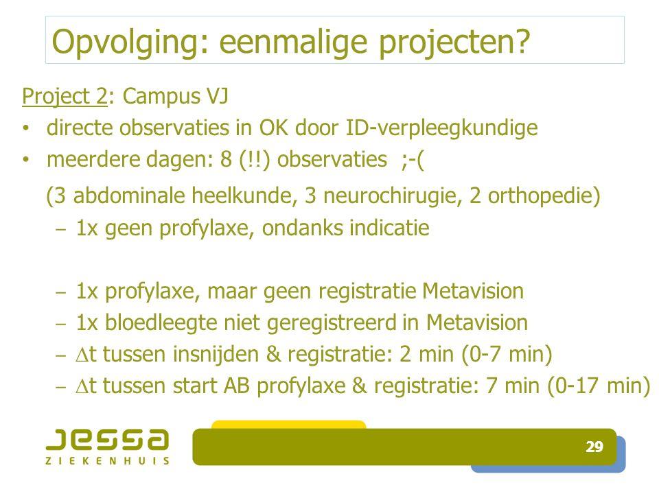 Opvolging: eenmalige projecten? Project 2: Campus VJ directe observaties in OK door ID-verpleegkundige meerdere dagen: 8 (!!) observaties ;-( (3 abdom