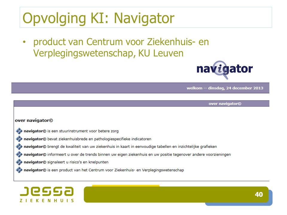 Opvolging KI: Navigator product van Centrum voor Ziekenhuis- en Verplegingswetenschap, KU Leuven 40