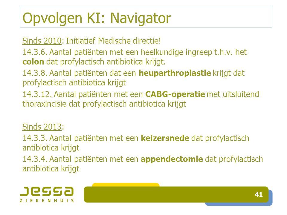 Opvolgen KI: Navigator Sinds 2010: Initiatief Medische directie! 14.3.6. Aantal patiënten met een heelkundige ingreep t.h.v. het colon dat profylactis