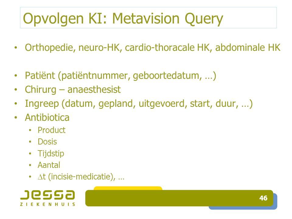 Opvolgen KI: Metavision Query Orthopedie, neuro-HK, cardio-thoracale HK, abdominale HK Patiënt (patiëntnummer, geboortedatum, …) Chirurg – anaesthesis