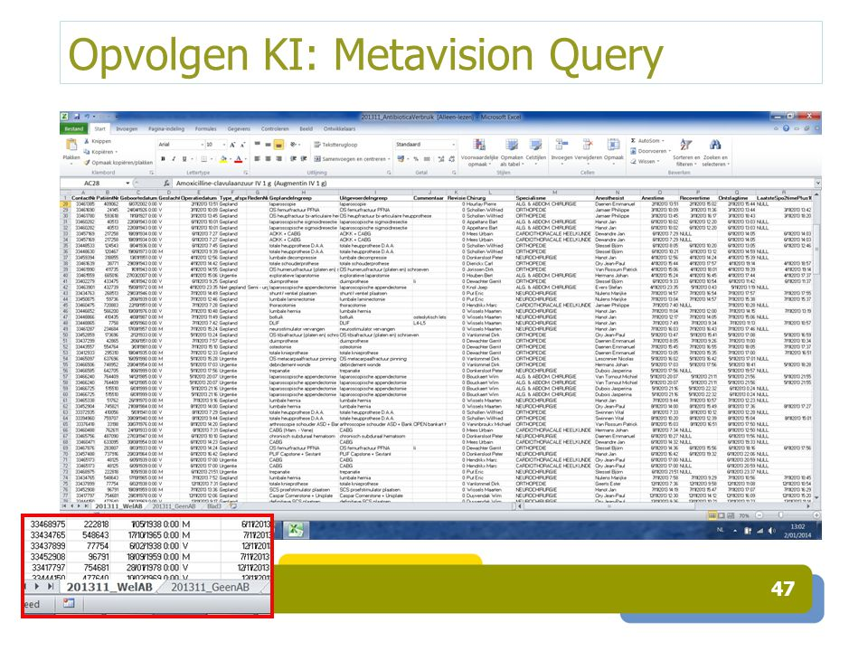 Opvolgen KI: Metavision Query 47